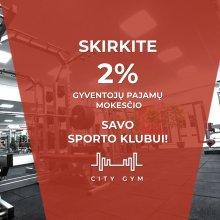 Skirkite 2 %  sporto klubui City Gym !