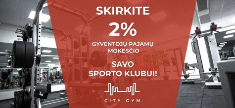 Skirkite 2 %  sporto klubui City Gym !